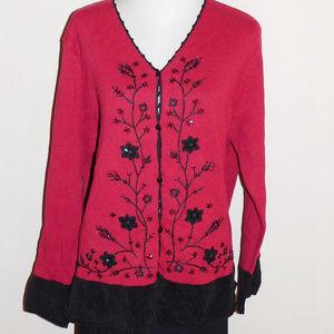 2X Coldwater Creek Red Black Cardigan Sweater NWT